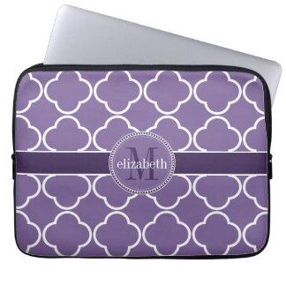 Purple   White Quatrefoil Clover Monogram Laptop Sleeve