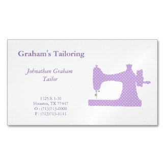 Purple & White Sewing Machine Business Card Magnet