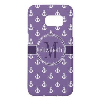 Purple White Ship Anchors Monogram Samsung Galaxy S7 Case