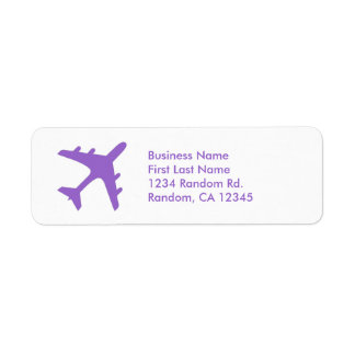 Purple white simple airplane return address labels