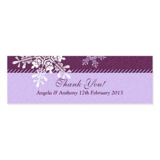 Purple White Snowflake Winter Wedding Favor Tags Mini Business Card