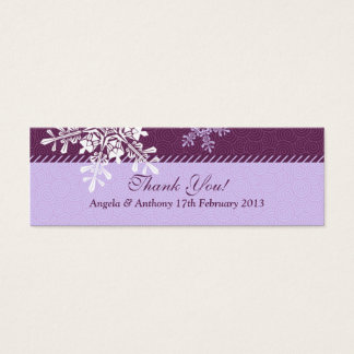 Purple White Snowflake Winter Wedding Favor Tags Mini Business Card
