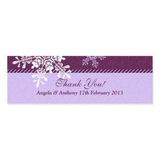 Purple White Snowflake Winter Wedding Favor Tags Pack Of Skinny Business Cards