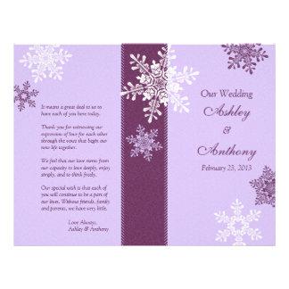 Purple White Snowflakes Winter Wedding Program Flyers