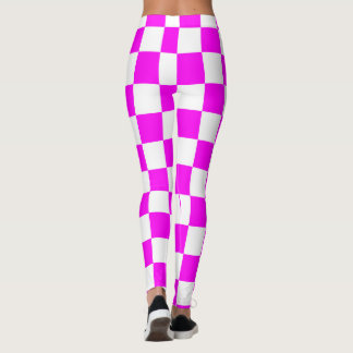 Purple & White Squares abstract repeatable Leggings