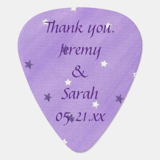 Purple White Stars Personalized Guitar Picks Favor