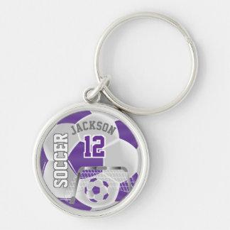 Purple & White Team Soccer Ball Keychain
