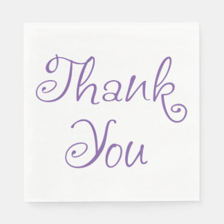 Purple & White Thank You Calligraphy Typography Paper Napkins