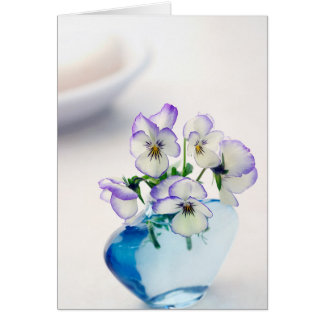 Purple  White Violas   Flowers Blue Vase Floral Card