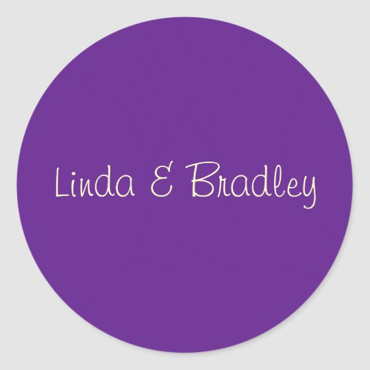 Purple & White Wedding Favour Sticker