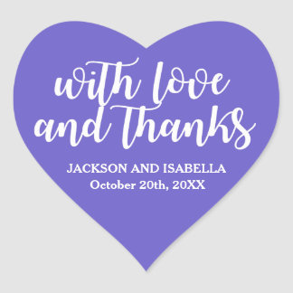 Purple & White Wedding Sticker Love & Thanks