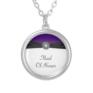 Purple & White With Black Velvet & Diamond Wedding Silver Plated Necklace