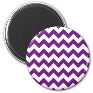 Purple White Zigzag Stripes Chevron Pattern 2 Inch Round Magnet
