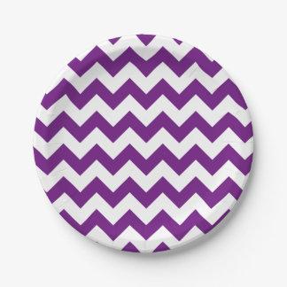 Purple White Zigzag Stripes Chevron Pattern 7 Inch Paper Plate