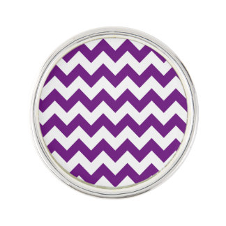 Purple White Zigzag Stripes Chevron Pattern Lapel Pin