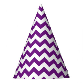 Purple White Zigzag Stripes Chevron Pattern Party Hat