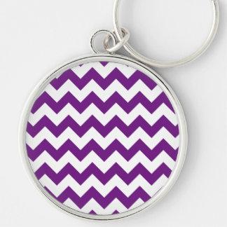 Purple White Zigzag Stripes Chevron Pattern Silver-Colored Round Keychain