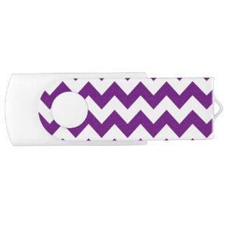 Purple White Zigzag Stripes Chevron Pattern Swivel USB 2.0 Flash Drive