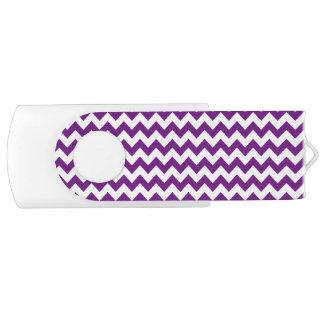 Purple White Zigzag Stripes Chevron Pattern Swivel USB 3.0 Flash Drive