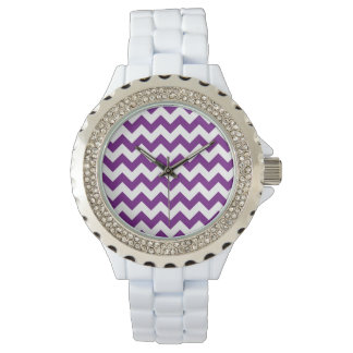 Purple White Zigzag Stripes Chevron Pattern Watch