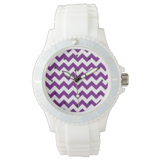 Purple White Zigzag Stripes Chevron Pattern Wrist Watches