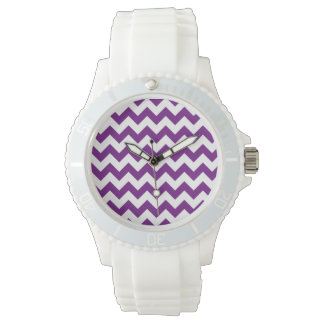 Purple White Zigzag Stripes Chevron Pattern Wristwatch