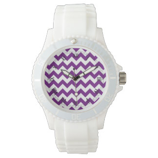 Purple White Zigzag Stripes Chevron Pattern Wristwatches