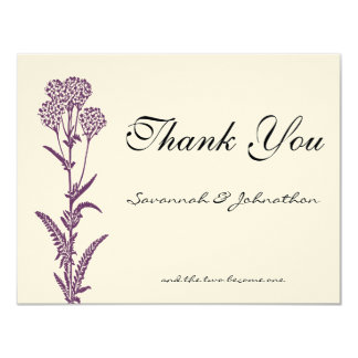 Purple Wild Flower Branch Wedding Thank You Cards