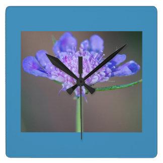 Purple wild flower square wall clock