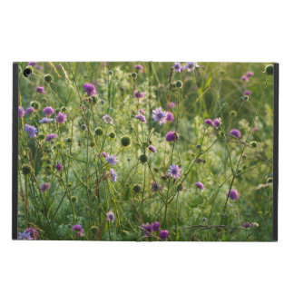 Purple wild flowers in a green meadow iPad air case