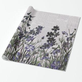 Purple Wild flowers on Vintage Newspaper