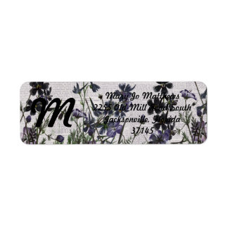 Purple Wild flowers on Vintage Newspaper Return Address Label