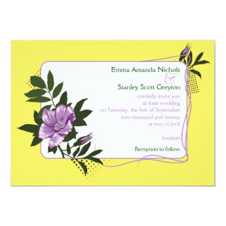 Purple wild rose yellow floral wedding invitation