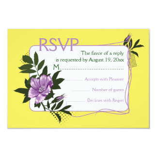 Purple wild rose yellow floral wedding RSVP card