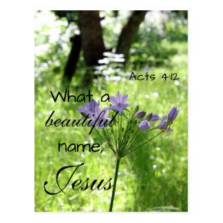 Purple Wildflower Bible Verse Postcard
