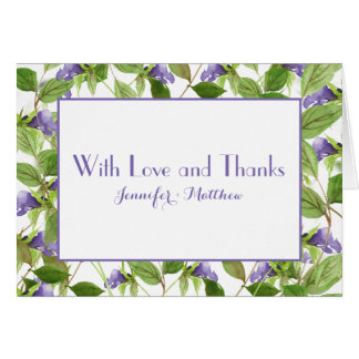 Purple Wildflower Blossoms Green Leaves Thank You Card