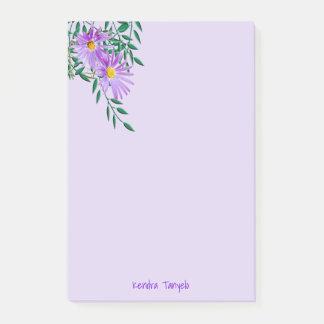 Purple Wildflower Corner Template Post-it Notes