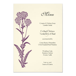 Purple Wildflower Floral Country Chic Wedding Menu Card