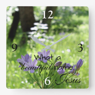 Purple Wildflower Jesus Wall Clock