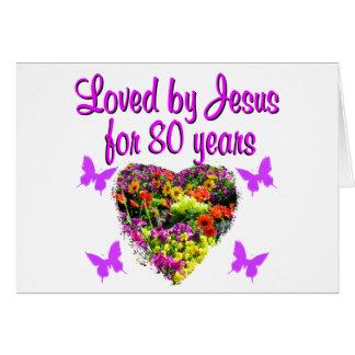PURPLE WILDFLOWER LOVED BY JESUS FOR 80 YEARS CARD