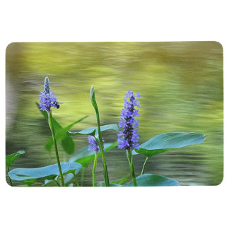 Purple Wildflowers By The Pond Floor Mat