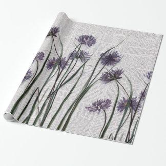 Purple Wildflowers on Vintage Newspaper