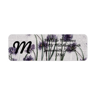 Purple Wildflowers on Vintage Newspaper Return Address Label