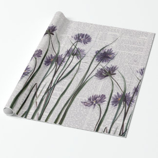 Purple Wildflowers on Vintage Newspaper Wrapping Paper