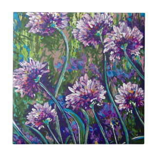 purple wildflowers tile