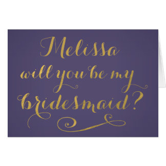 Purple Will You Be My Bridesmaid Typography Card