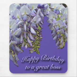 Purple Wisteria Boss Happy Birthday Mousepad