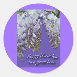 Purple Wisteria Boss Happy Birthday Sticker