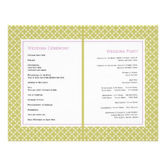 Purple wisteria, green pattern wedding program