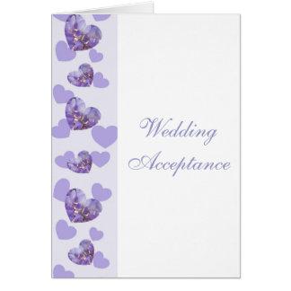 Purple Wisteria Hearts Wedding Acceptance Card